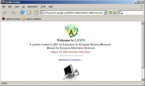 Screenshot explaining if user successfully connected to LAWN
